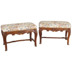 Pair of 19th Century Louis XV Style Walnut Benches