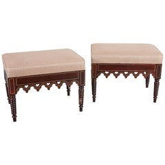 Pair of Charles X Gothic Revival Rosewood Benches