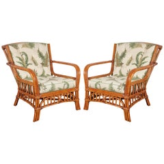 Pair of Walters Wicker Viscaya Rattan Armchairs