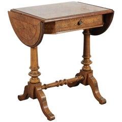 English Burr Elm Drop-Leaf Table