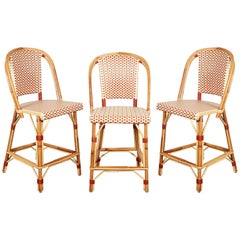 Set of Three Maison Drucker Rattan Bar Stools