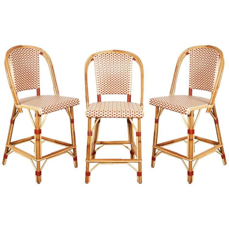 Set Of Three Maison Drucker Rattan Bar Stools For Sale At