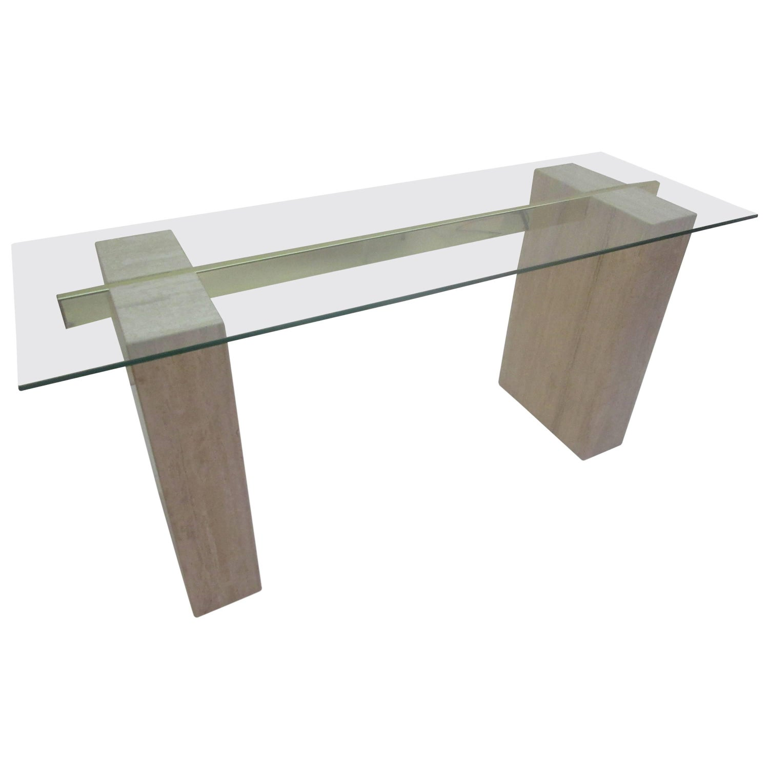 Travertine Marble and Glass Coffee Table and Side Tables by Artedi