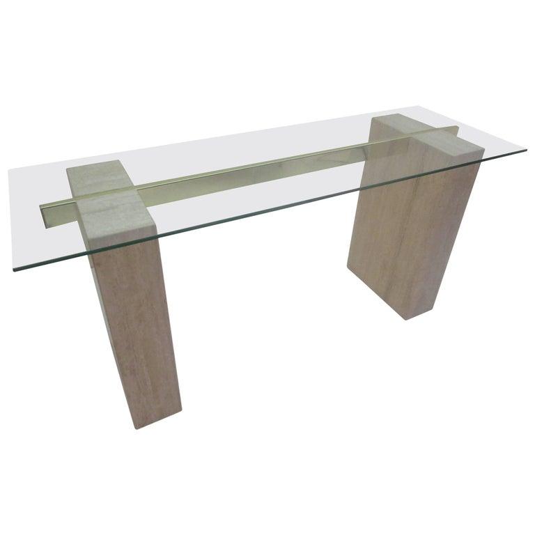 Artedi Console Table in Travertine Brass and Glass For Sale