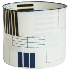 Eggshell Porcelain Vessel with Geometric Forms by Bodil Manz
