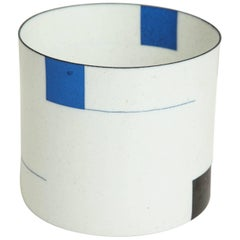 Eggshell Porcelain Vessel with Blue and Black Geometric Forms by Bodil Manz