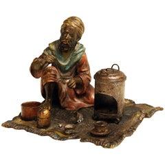 Vienna Bergman Bronze Arab Man on Carpet Preparing Tea, circa 1925