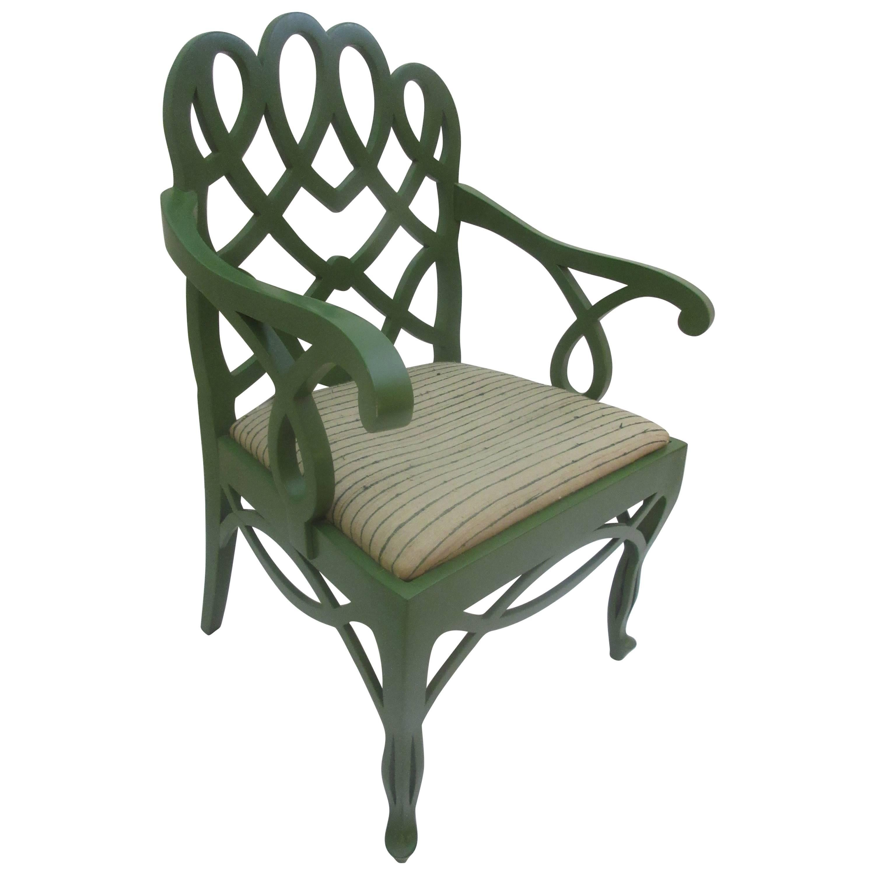 Frances Elkins Loop Chair In Original Green Lacquer And Fabric 1