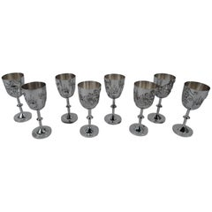 Set of Eight Asian Silver Firewater Dragon Cordials