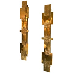 Contemporary Pair of Brass Sconces Geometrical Murano Glass, Italy