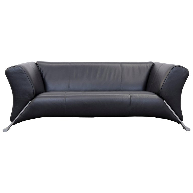Rolf Benz 322 Designer Sofa Black Two Seat Leather Modern