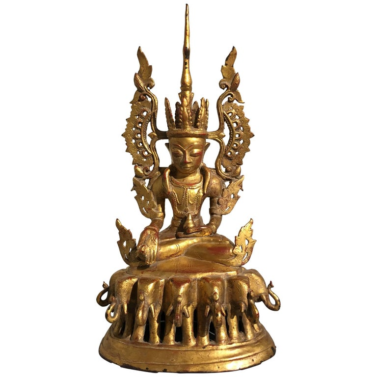 Burmese Arakan Lacquered and Gilt Bronze Healing Buddha, 18th Century For Sale
