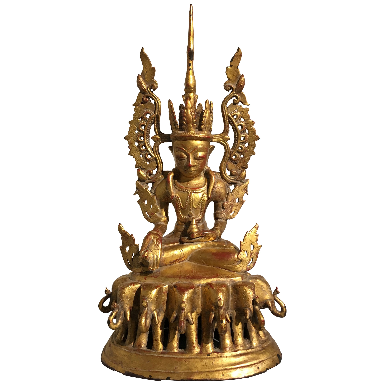 Burmese Arakan Lacquered and Gilt Bronze Healing Buddha, 18th Century