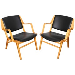 "Pair of ""Ax"" Black Leather Chairs by Peter Hivdt and Orla Mølgaard Nielsen"