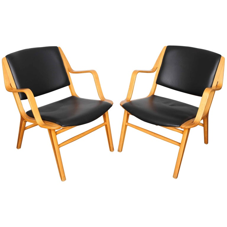 """Pair of """"Ax"""" Black Leather Chairs by Peter Hivdt and Orla Mølgaard Nielsen"""