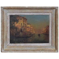 French Oil on Panel, Signed H. Henri, Venetian Canal Scene