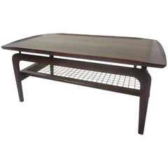 Peter Hvidt for John Stuart Rosewood Coffee Table with Canned Magazine Rack