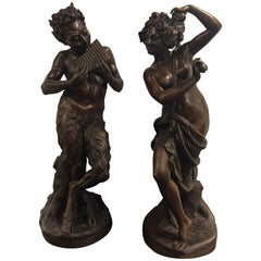 Pair of Palatial Bronze Mythological Figures Male and Female Dated 1914 Signed