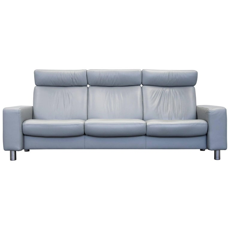 Stressless Pause Designer Sofa Grey Leather Three Seat Relax Function Highback At 1stdibs