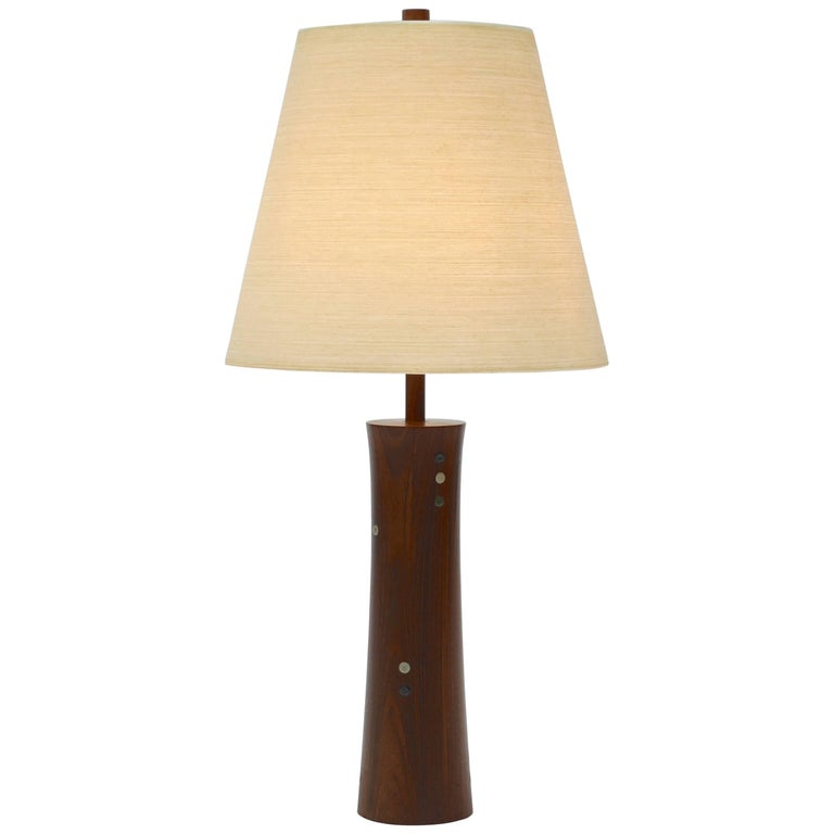 Turned Walnut and Tile Table Lamp by Gordon and Jane Martz