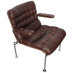 "Brown Tufted Leather Metal Framed ""Birgitta"" Chair by Bruno Mathsson for DUX"