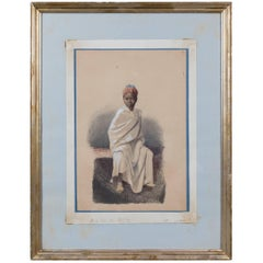 Orientalist Watercolor of Young African Boy