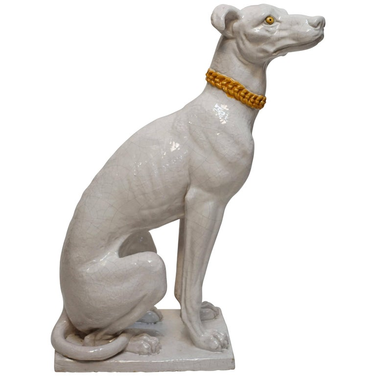 Italian Faience Pottery Whippet Greyhound Statue