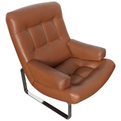 Brown Leather With Chrome Base Lounge Chair by Inge Andersson, 1960s, Sweden
