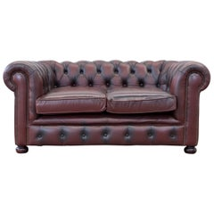 Original Chesterfield Two-Seat Couch Red Brown Authentic Leather