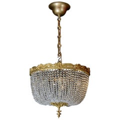Corbeille Style Chandelier, Crystals, Gold Gilt Bronze