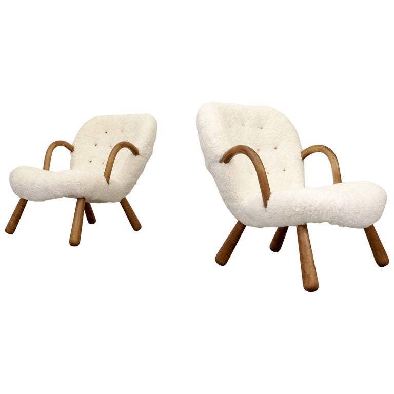 Philip Arctander Clam Chairs by Nordisk Stål & Møbel Central in Denmark, 1940s