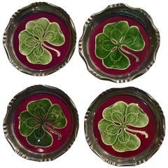 Set of Four Coasters Art Nouveau Enameled with Four-Leaf Clover Ceramic Inserts