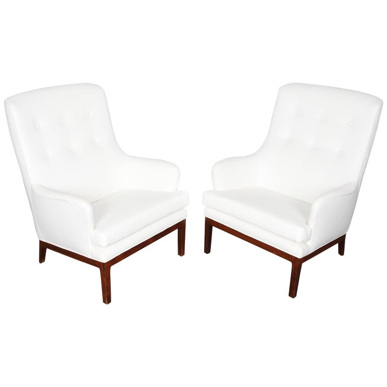 Pair of Newly Reupholstered Arne Norell Armchairs with Rosewood Base