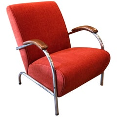 Art Deco Tubular Chrome Upholstered Lounge Chair by Troy Sunshade