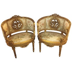 Pair of Barrel Back Louis XVI Style French Arm or Bergère Chairs