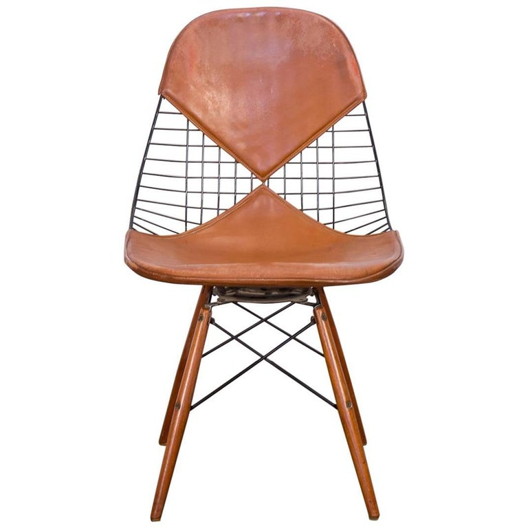 Original Eames PKW-2 Wire Chair on Dowel Swivel Base