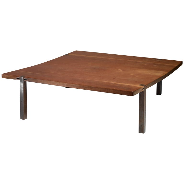 Square (1,5 m/58 inch) Solid Wood and Metal Coffee Table, Denmark, 1960s
