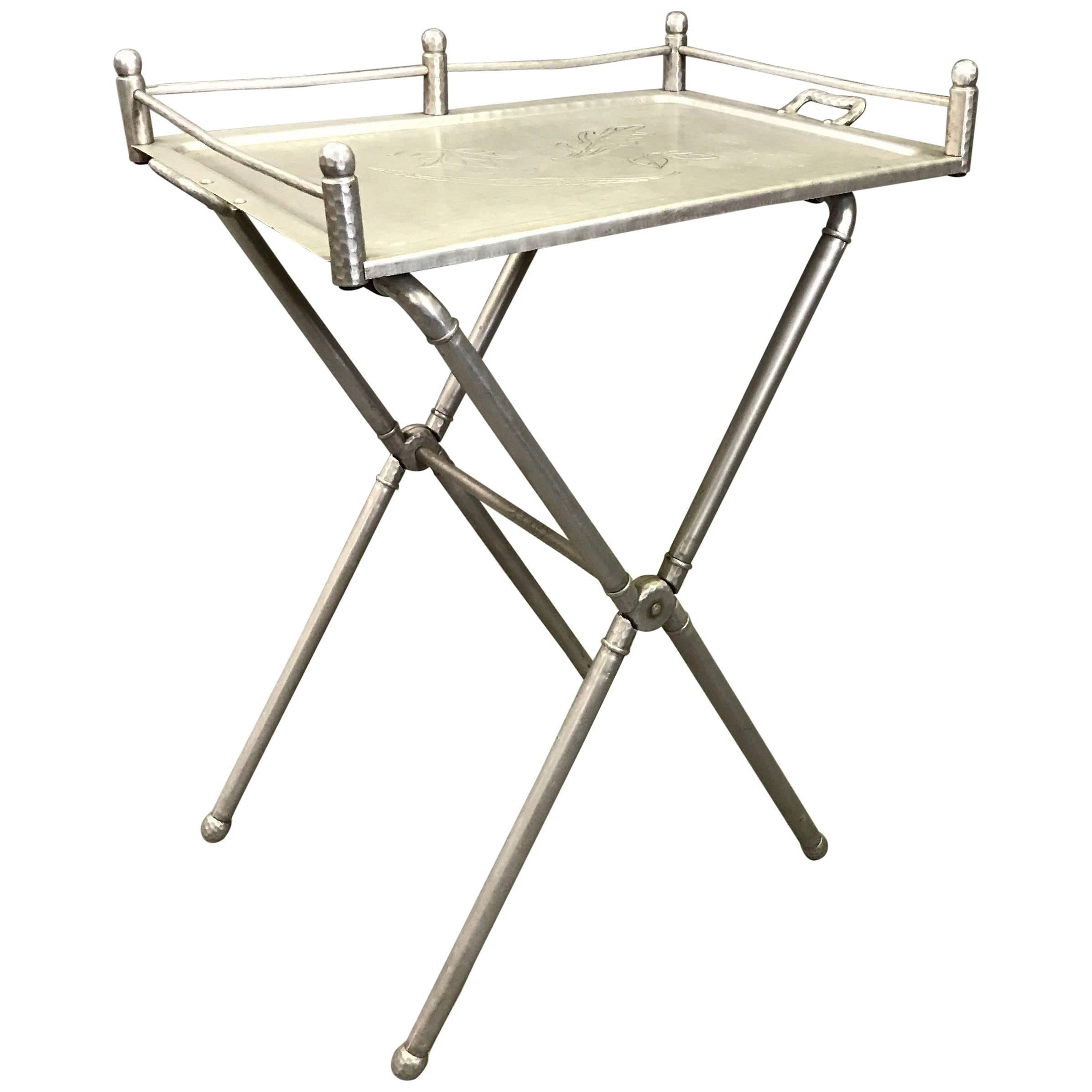 Brushed Aluminum Folding Tray Table by Mary Wright for Everlast