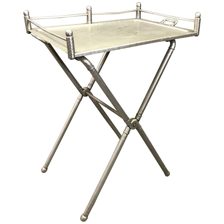 Brushed Aluminum Folding Tray Table by Mary Wright for Everlast Metal Products