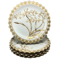 Set of Six Aesthetic Movement Gilt Painted Orchid Plates