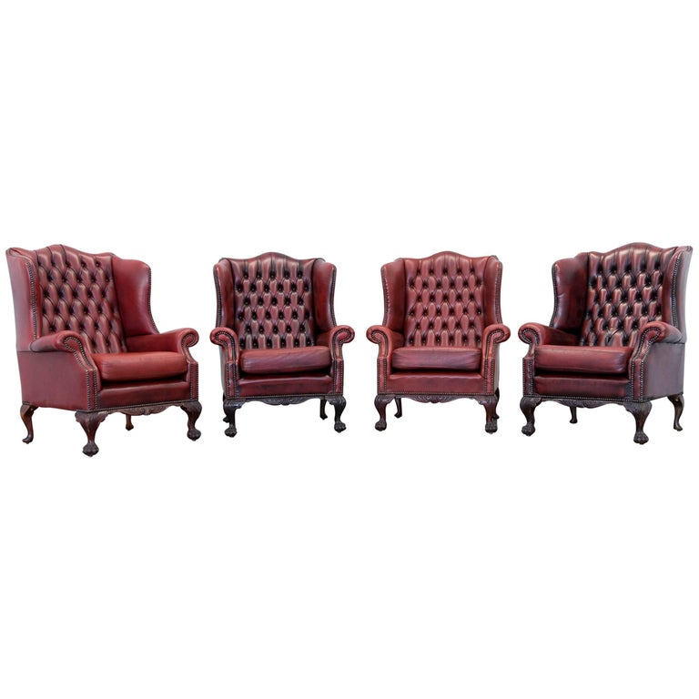 Red Leather Wingback Chair For Sale: Chesterfield Wingback Chair Set Of Four In Stunning