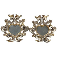 Pair of Italian Silver and Gold Heart Shaped 18th Century Mirrors