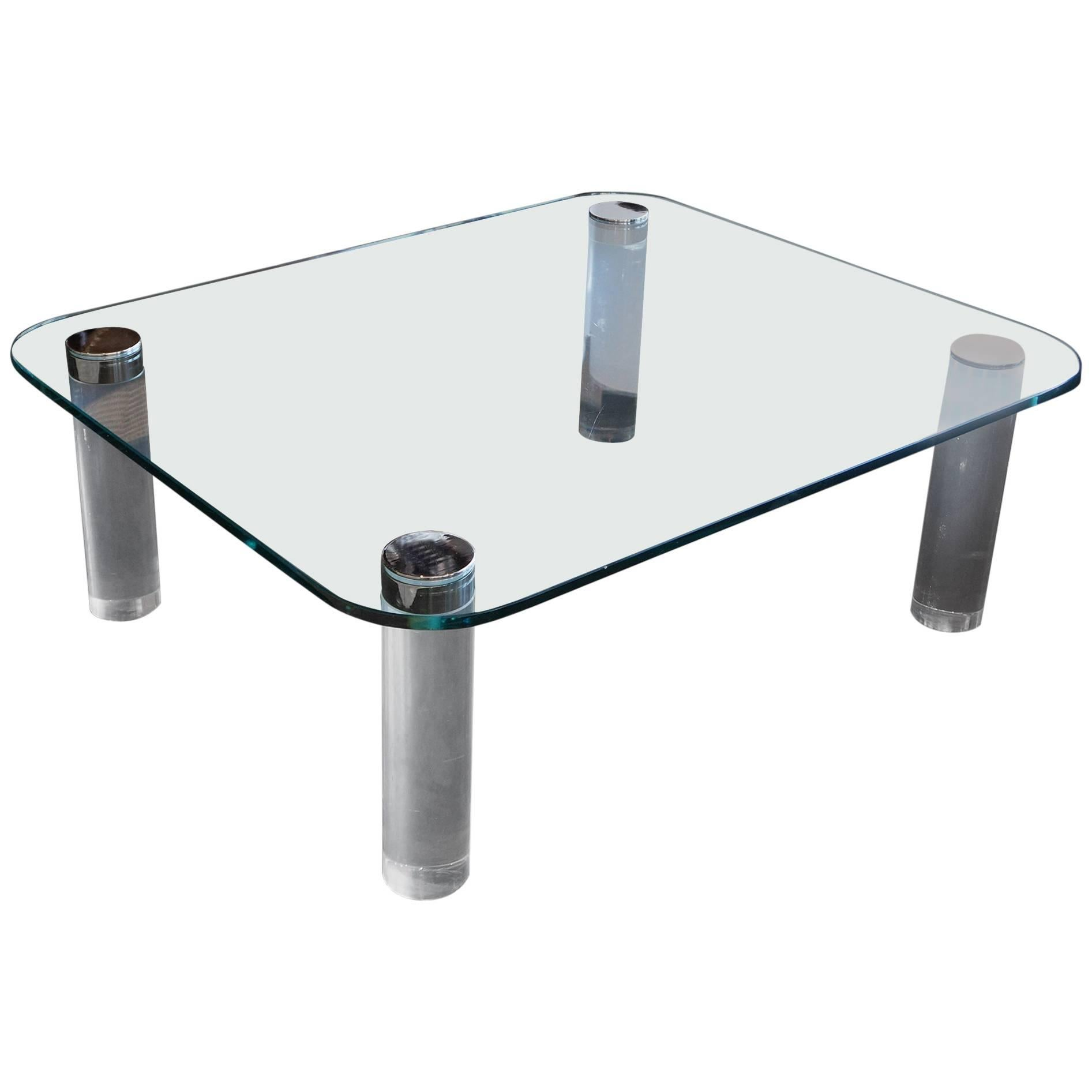 Pace Collection Glass, Lucite and Chrome Large Coffee Table