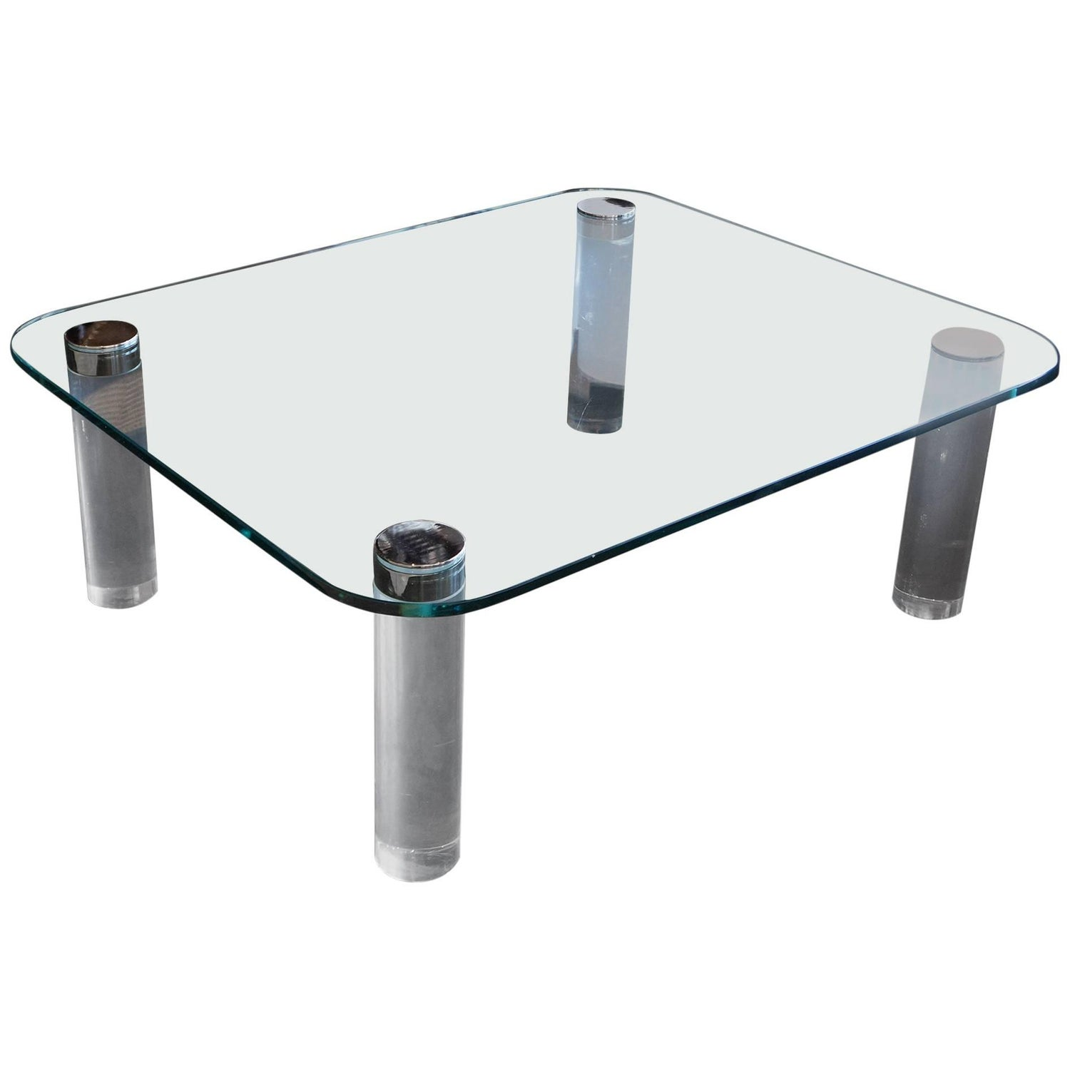Chrome and Glass Coffee Table For Sale at 1stdibs
