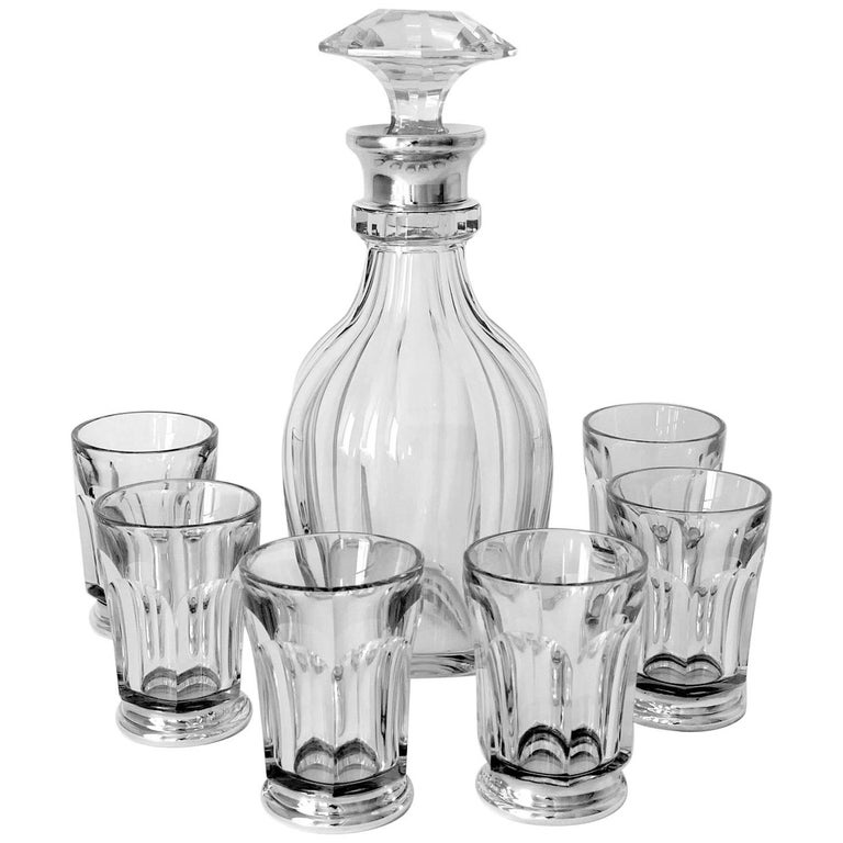 Antique French Sterling Silver Baccarat Cut Crystal Aperitif or Whiskey Service