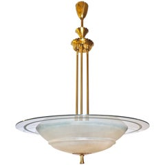 1950s Italian Brass and White Frosted Murano Glass Saucer Chandelier/Pendant