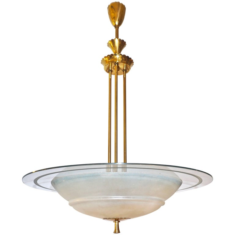 1950s italian brass and white frosted murano glass saucer 1950s italian brass and white frosted murano glass saucer chandelierpendant for sale aloadofball Images