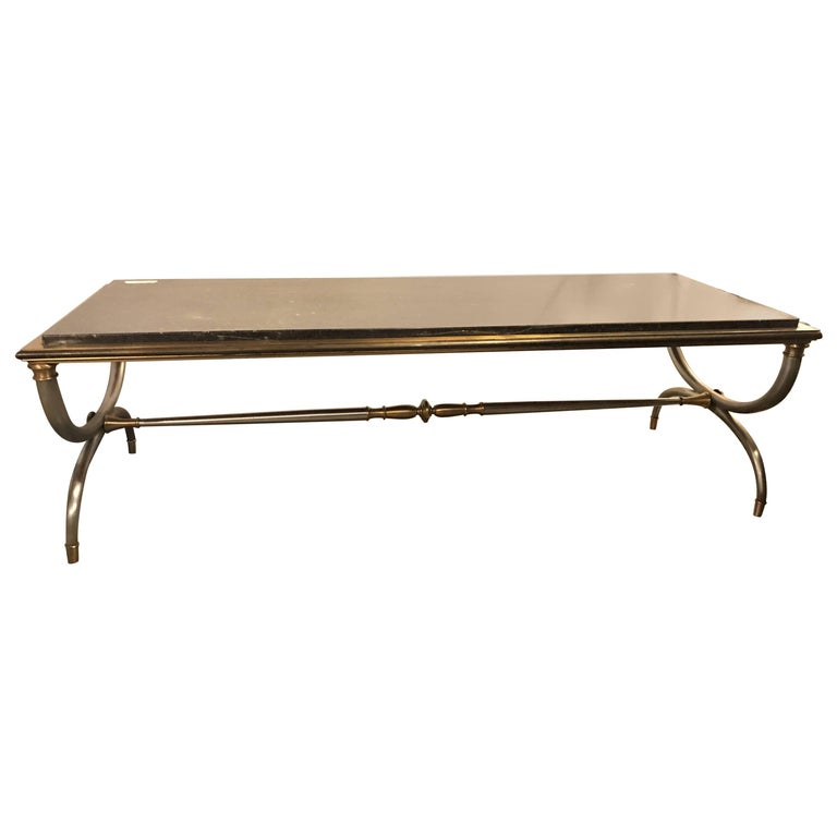 Hollywood Regency Steel and Brass Black Marble-Top Maison Jansen Coffee Table