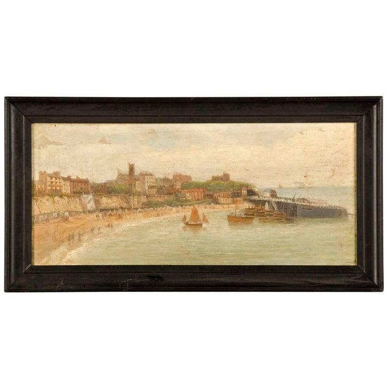 Antique English Watercolour of Broadstairs, circa 1890 Original Frame
