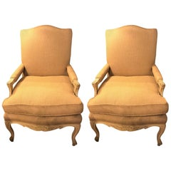Pair of Open Armchairs Burlap Upholstery with Painted Frames